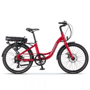 "Red Wisper 705 24"" Step-Through Electric Bike"